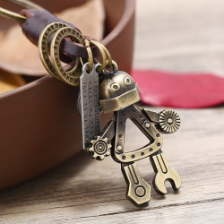 Leather key pendant alloy robot mens leather genuine fashion