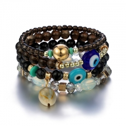 New Bracelet Bohemian Vintage Bracelet Imitation Crystal Stone Handmade Multi-string Shell Big Eye Pendant Bracelet