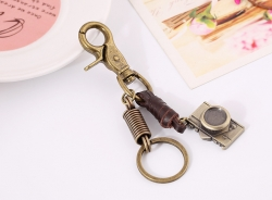 Hand-woven leather rope car key chain men and women couple key ring chain