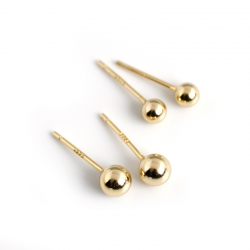 Golden s925 sterling silver small fresh peas round beads earrings earrings