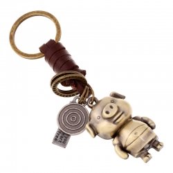 Woven leather rope car keychain male and female couple key ring alloy cartoon animal creative leather pendant