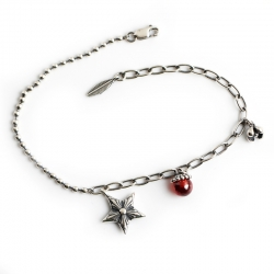 Distressed pendant pendant s925 sterling silver bracelet bracelet natal year redstone round bead chain jewelry