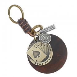 Vintage Woven Leather Keychain