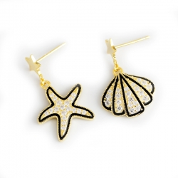 Light luxury gold diamonds exaggerated shell starfish s925 sterling silver earrings earrings female