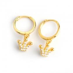 Diamond-set zircon crown-shaped wild s925 pure stud earrings female