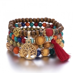 Factory direct sales jewelry European and American jewelry wholesale Bohemian style multilayer wooden bead beaded bracelet elastic bracelet