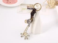 Retro cowhide keychain bronze cute giraffe leather keychain creative small gift