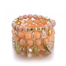 European and American Bohemian jewelry cross-border explosion accessories creative multilayer glass bead bracelet leaf bracelet jewelry wholesale