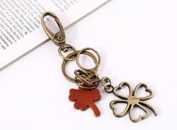 Four-leaf clover leather key chain