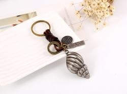 Vintage Woven Alloy Conch Leather Keychain Punk Leather Keychain