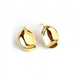 S925 sterling silver earrings simple irregular irregular gold-plated female earrings temperament wild earrings