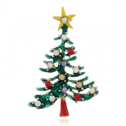 European and American fashion clothing creative hollow gift pin golden Christmas tree brooch