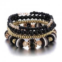 Manufacturer Amazon Hot Selling Glass Beads Acrylic Bracelet Female Bohemian Multilayer Bracelet Set One Drop Shipping