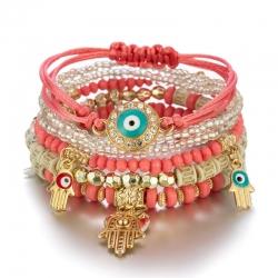Factory direct selling jewelry cross-border hot selling European and American handmade beaded fashion eye bead temperament multi-layer bracelet
