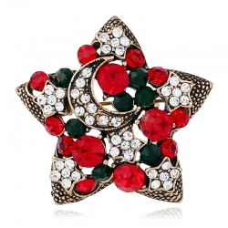 Christmas brooch European and American retro diamond-studded star suit brooch Foreign trade jewelry creative gift brooch