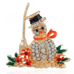 European and American fashion clothing creative high-end brooch golden Christmas snowman brooch