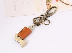 Vintage punk bronze hammer leather keychain ladies backpack pendant