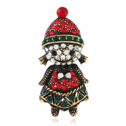 New creative gift diamond Christmas brooch, European and American retro cartoon image pin accessories