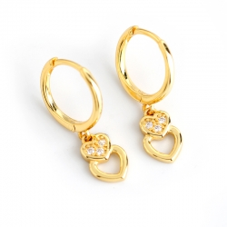 Love European and American Earrings Gold Diamond Heart-shaped s925 Sterling Silver Wild Fashion Earrings Stud Earrings