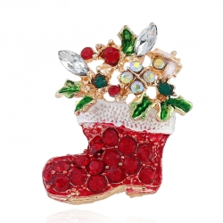 Golden christmas socks brooch