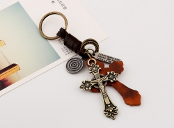 Cross alloy leather keychain retro woven mens cowhide keychain