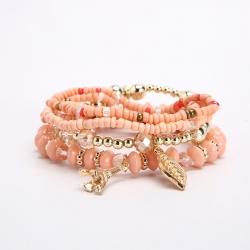 Cross-border ethnic jewelry Bohemian multi-layer combination rice bead bracelets golden leaf pendant sweet bracelet