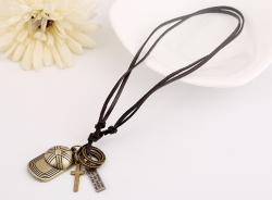 Fashion Rock Personality Hat Leather Necklace Retro Leather Necklace Mens Pendant