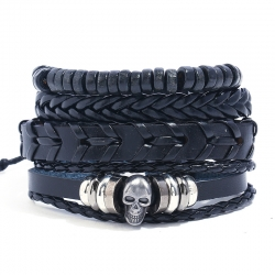 Skull Beaded Retro Leather Bracelet Men Woven DIY Set Leather Bracelet