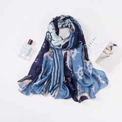 Long print silk smooth look charmeuse shawl scarf