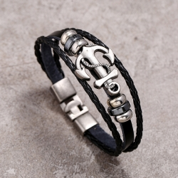 Anchor cowhide bracelet simple and versatile multi-layer woven leather bracelet