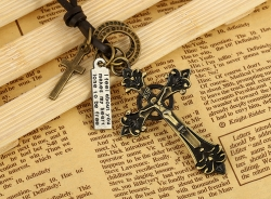 Leather Necklace Hot Selling Cowhide Necklace Alloy Cross