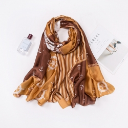 Long print silk smooth look charmeuse shawl scarf