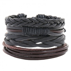 Multi-layer woven cowhide bracelet DIY four-piece combination leather bracelet
