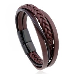 New retro cowhide bracelet multi-layer stainless steel braided leather bracelet bracelet