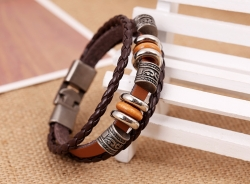 Punk style cowhide bracelet simple woven buckle leather bracelet