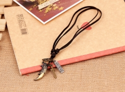 Leather Necklace Vintage Cowhide Necklace Alloy Long Necklace