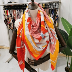 Print silk smooth look charmeuse square scarf