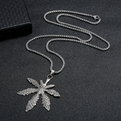 Simple alloy maple leaf mens necklace wild student hipster personality clothing accessories retro sweater chain