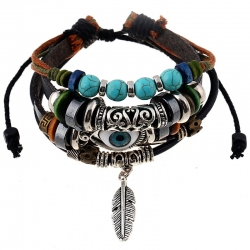 Beaded multilayer blue eyes cowhide bracelet ethnic style feather pendant student bracelet