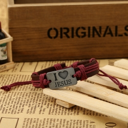 I love Jesus alloy leather bracelet