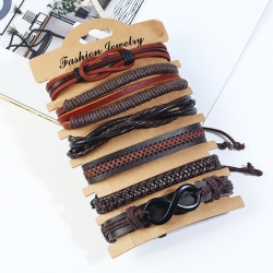 Vintage woven multi-layer cowhide bracelet