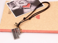 New European and American leather necklace two-color abacus leather necklace