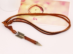 One arrow through the heart vintage first layer cowhide necklace leather necklace