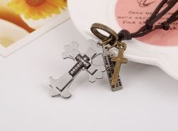 Cowhide Necklace Alloy Cross Long Leather Necklace