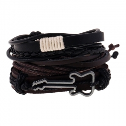 Simple retro woven cowhide bracelet alloy guitar leather bracelet multi-layer suit