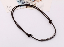 Leather Necklace Short Mens Alloy Necklace Vintage Coarse Ore Beach Cowhide Necklace