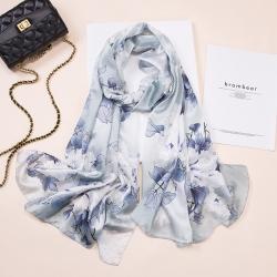 Silk blend charmeuse long hand made print shawl scarf