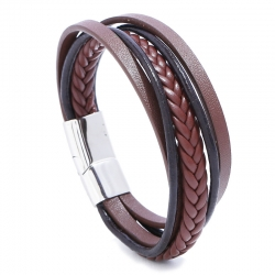 Hand-woven retro mens leather bracelet stainless steel multi-layer leather bracelet creative ethnic style simple bracelet