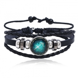 Luminous 12 constellation leather bracelet personality woven starry sky bracelet 12 constellation leather bracelet