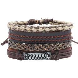 Cowhide suit bracelet hand-woven vintage leather bracelet hemp rope bracelet